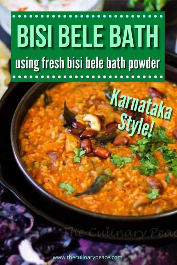Bisi Bele Bath recipe collage with text overlay
