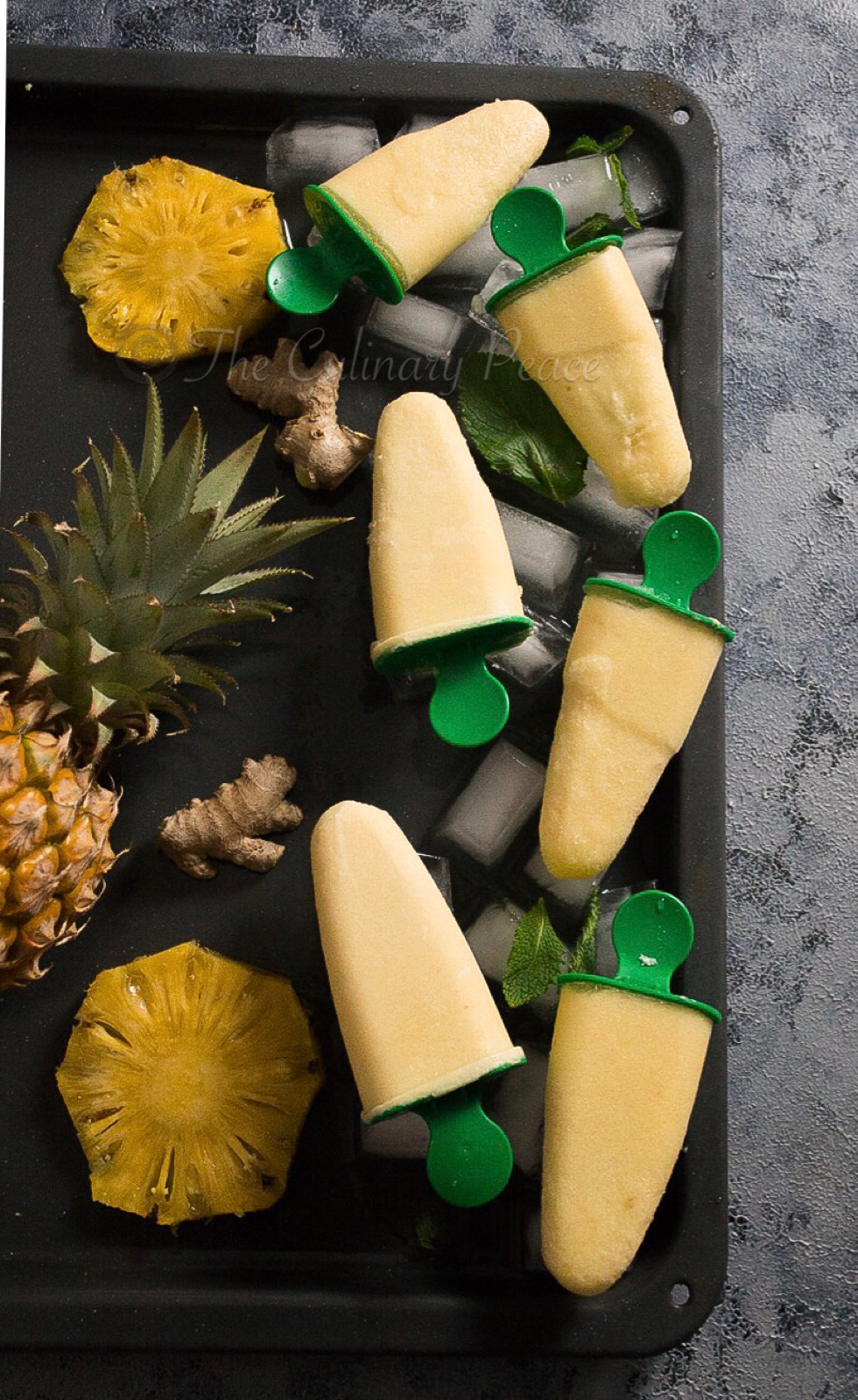 Ginger pina colada popsicle
