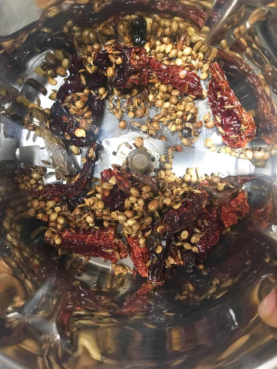 Making the masala spice blend - important step of making kollu rasam