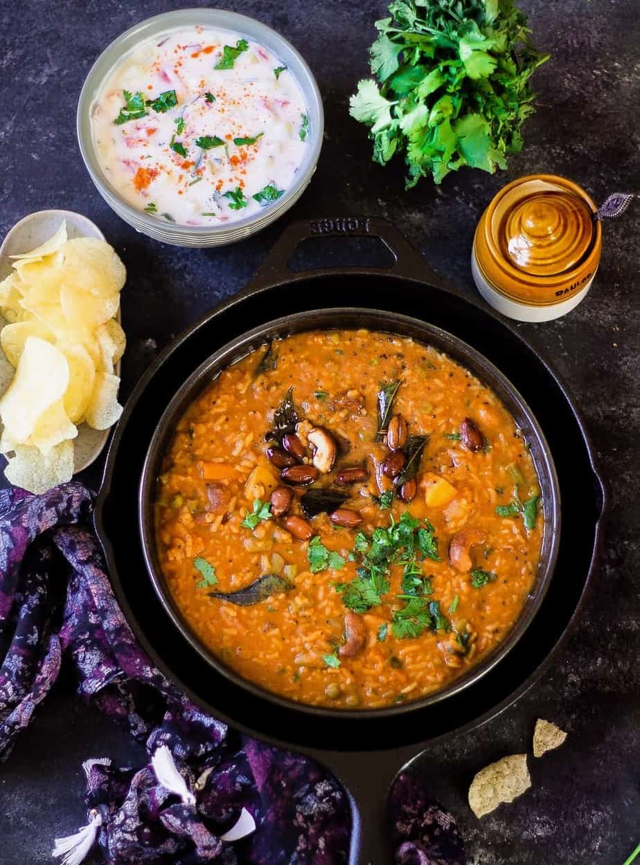 Closeup of a big bowl full of the delicious Bisi Bele Bath made in accordance with this recipe
