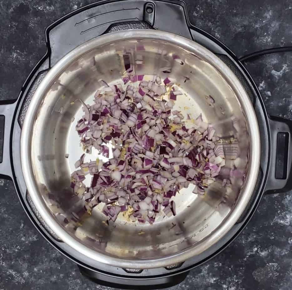 Adding onion to other chopped ingredients