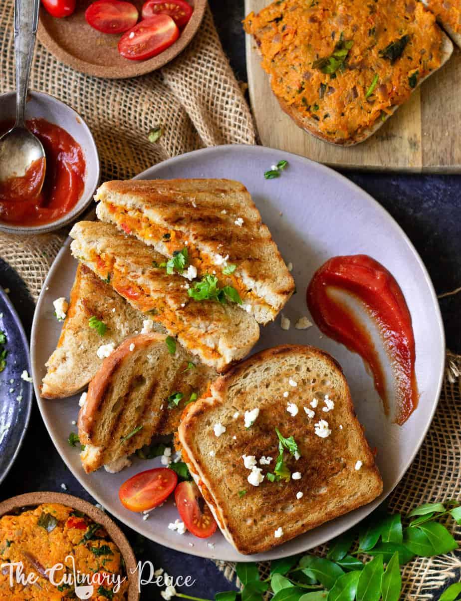 Paneer Sandwich (Bakery-style Masala Toast)
