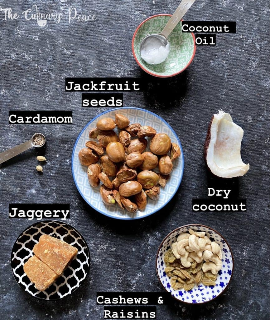 Ingredients required for jackfruit seeds payasa presented on a black background